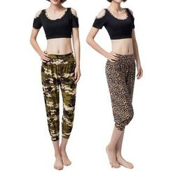 YANBOO - Set: Cut Out Shoulder Short Sleeve Cropped Top + Cropped Harem Pants