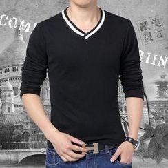 JVR - V-Neck Contrast-Trim T-Shirt