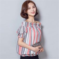 Supernova - Striped Off-Shoulder Chiffon Top