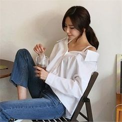 QNIGIRLS - Off-Shoulder Loose-Fit Shirt