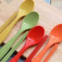 iswas - Kids Silicone Spoon Chopsticks Set