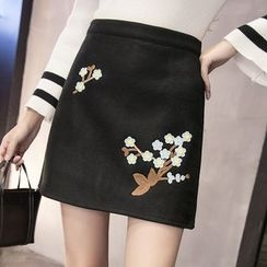 Cottony - Flower Embroidered Mini Skirt