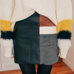 PPGIRL - Color-Block Faux-Leather Skirt