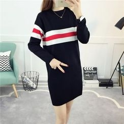 Piano Princess - Striped Long Sleeve Knit Dress