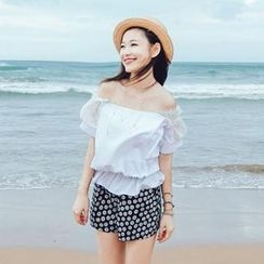 Tokyo Fashion - Off-Shoulder Lace Panel Top