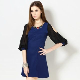 YesStyle Z - Bishop Sleeve Cutout Dress