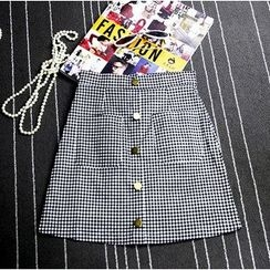 AIGIL - Gingham Button-front Skirt
