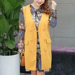 Hennson - Set: Long-Sleeve Floral A-line Dress + Long Vest