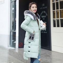 AiSun - Faux Fur Trim Applique Padded Coat