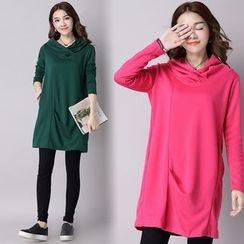 Diosa - Long-Sleeve Hooded Plain Dress
