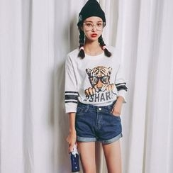SUYISODA - 3/4-Sleeve Print T-Shirt