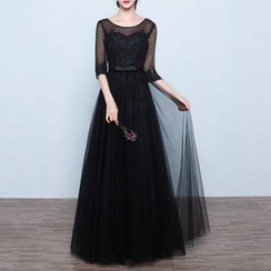 Luxury Style - Elbow-Sleeve Lace Evening Gown