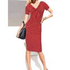Forest Of Darama - Short-Sleeve Bow Sheath Dress