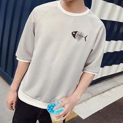 Besto - Fishbone Print Elbow-Sleeve T-Shirt