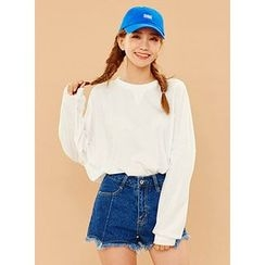 icecream12 - Fringed-Hem Stitched Denim Shorts