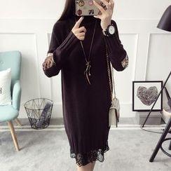 Qimi - 長袖圖案拼接針織連衣裙