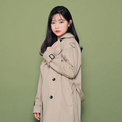 HOTPING - Double-Breasted Trench Coat With Sash