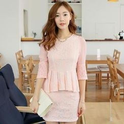 Flenkiy - Set: Pleated-Hem Lace Top + Skirt