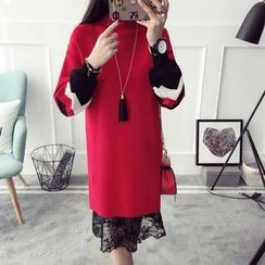 Qimi - Long-Sleeve Color Block Knit Dress
