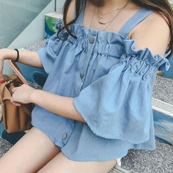 Moon City - Strappy Mock Chambray Top