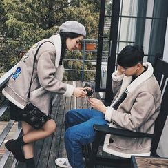 JUN.LEE - Couple Matching Faux Suede Jacket