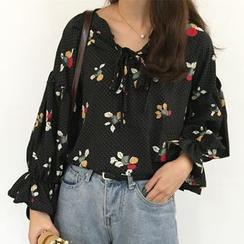 Dute - Floral Print Puff-sleeve Blouse