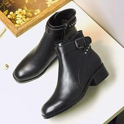 Gizmal Boots - Low Heel Studded Cross Strap Ankle Boots