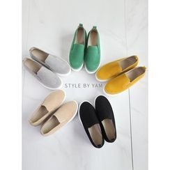 STYLEBYYAM - Colored Faux-Suede Stitch-Accent Slip-Ons