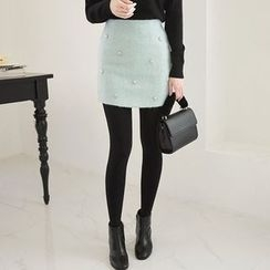 Seoul Fashion - Beaded-Trim Wool Blend Mini Skirt