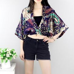 AIGIL - Cropped Elbow-Sleeve Patterned Chiffon Top