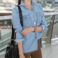 CHICFOX - Pocket-Detail Denim Shirt