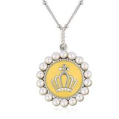 MBLife.com - Left Right Accessory - 925 Silver Yellow Enamel Crown with Freshwater Pearl Long Necklace (29')