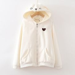 ninna nanna - Heart Embroidered Hooded Zip Jacket