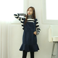 Dodostyle - Pocket-Front Corduroy Jumper Dress