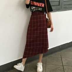 MePanda - Check Asymmetric Midi Skirt