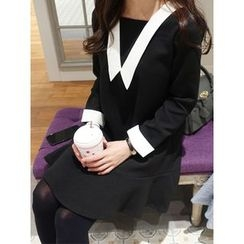 hellopeco - Ruffle-Hem Contrast-Trim Dress