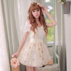糖果雨 - 短袖飾領歐根紗連衣裙