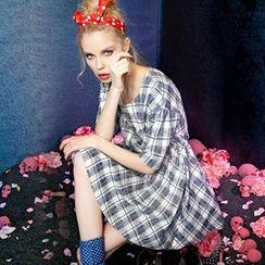 ELF SACK - Plaid A-Line Dress