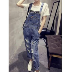 Octavia - Distressed Denim Dungarees