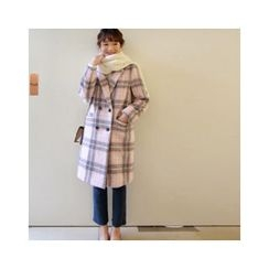 LEELIN - Double-Breasted Wool Blend Coat