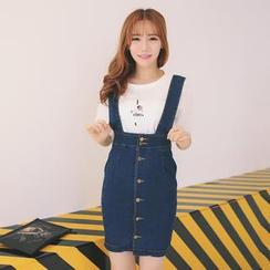 TANGYIZI - Set: Short-Sleeve Printed T-Shirt + Button-Accent Denim Suspender Skirt