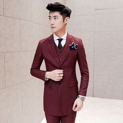 Besto - Set: Striped Long Blazer + Suit Vest + Dress Pants
