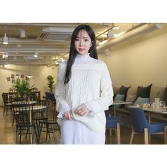 Envy Look - Off-Shoulder Cable-Knit Sweater