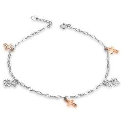 MaBelle - 14K Italian Rose and White Gold Diamond-Cut Religious Cross and Bears Anklet (23cm), Women Girl Jewelry in Gift Box