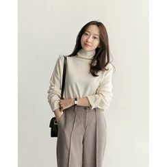 UPTOWNHOLIC - Turtle-Neck Wool Blend Knit Top