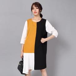 Little Grass - Color Block Asymmetrical Hem Chiffon Dress