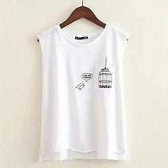 ninna nanna - Embroidered Sleeveless T-Shirt