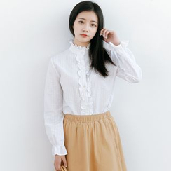 Forest Girl - Frill Trim Stand-Collar Blouse