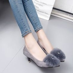 IYATO - Furry-Trim Kitten-Heels