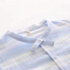 布丁坊 - 立领七分袖条纹棉麻衬衫